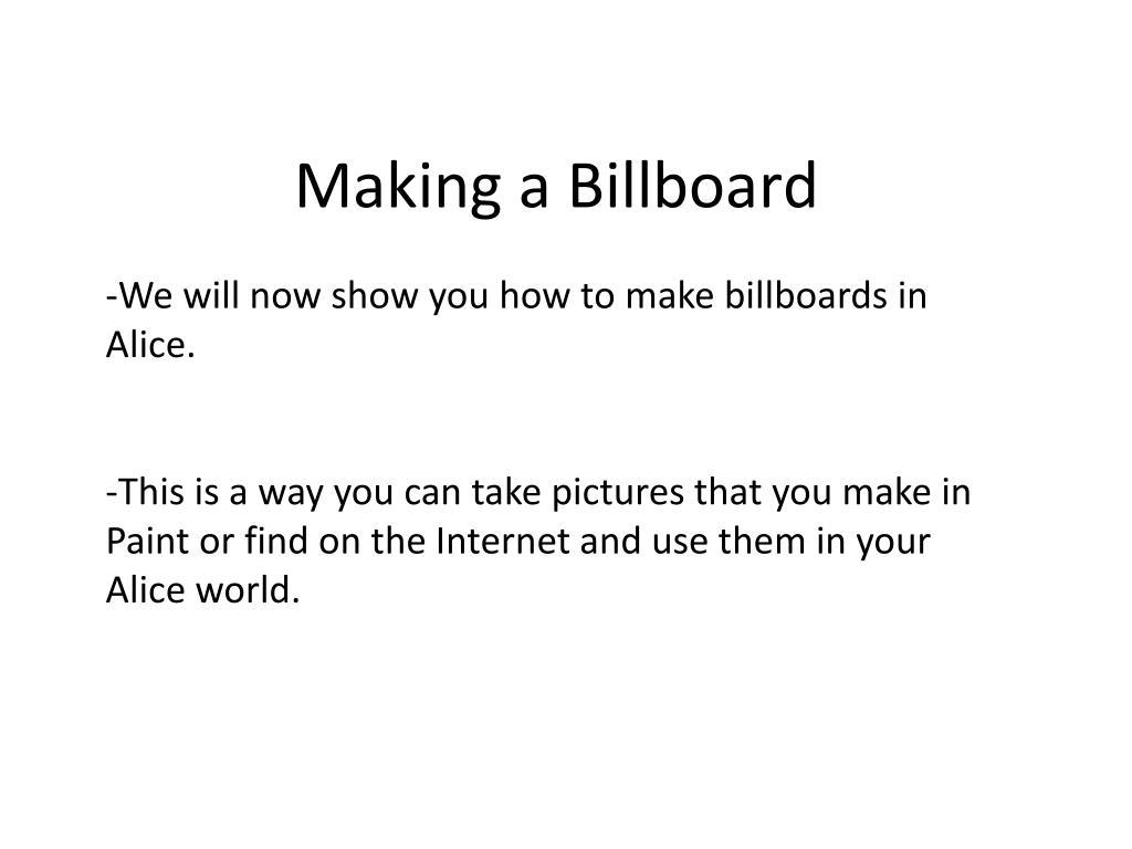 Making a Billboard
