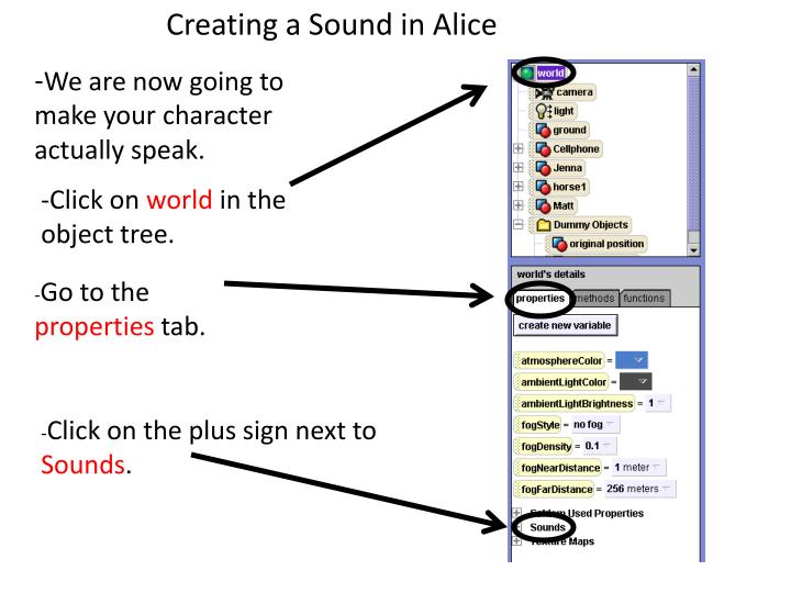 Creating a Sound in Alice