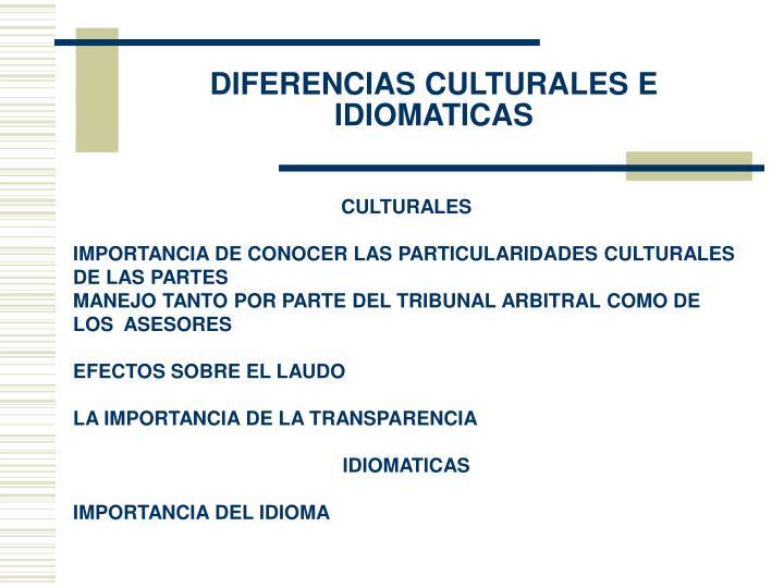 Diferencias culturales e idiomaticas