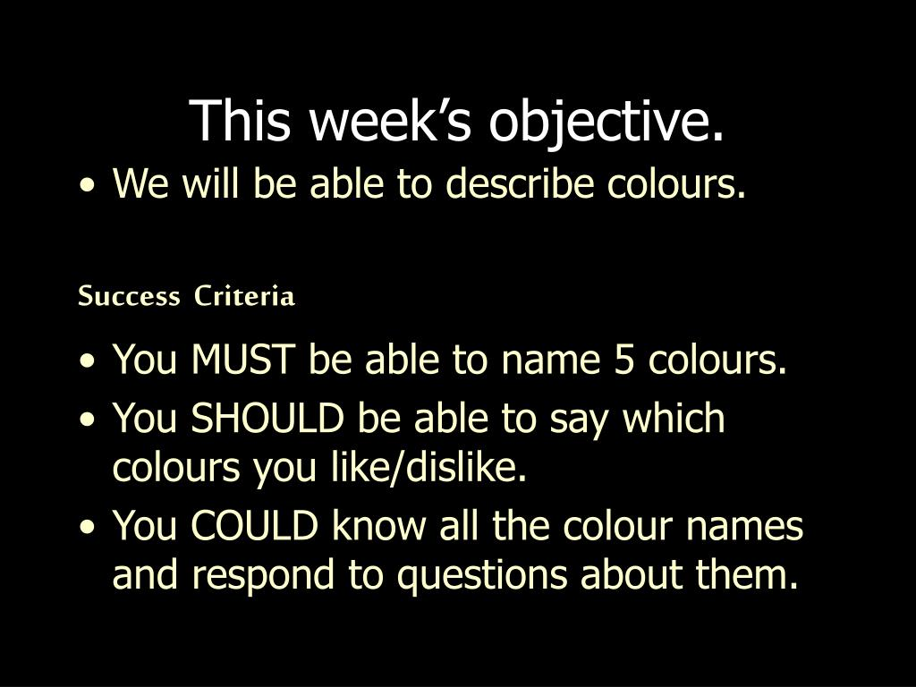 this week s objective l.