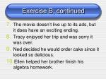 exercise b continued