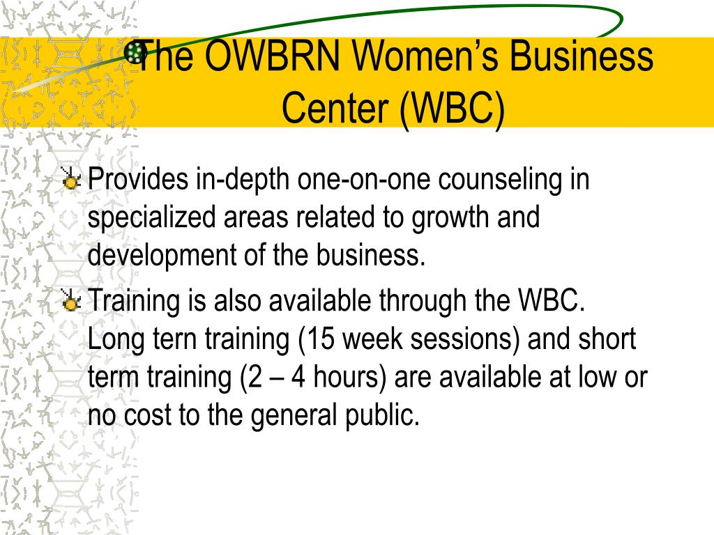 The OWBRN Women's Business Center (WBC)