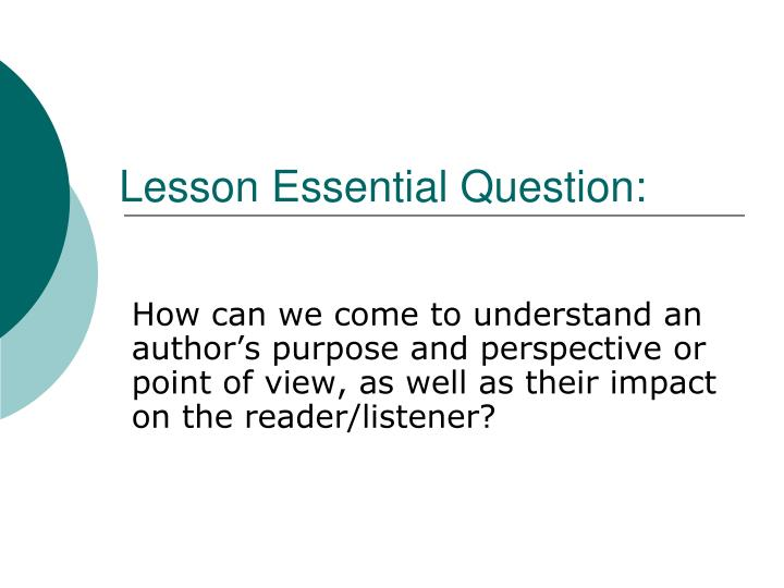 lesson 1 essay question 1 Lesson procedures step 1: 1 the background essay will now be read individually direct students to write an argumentative essay based on the guiding question.