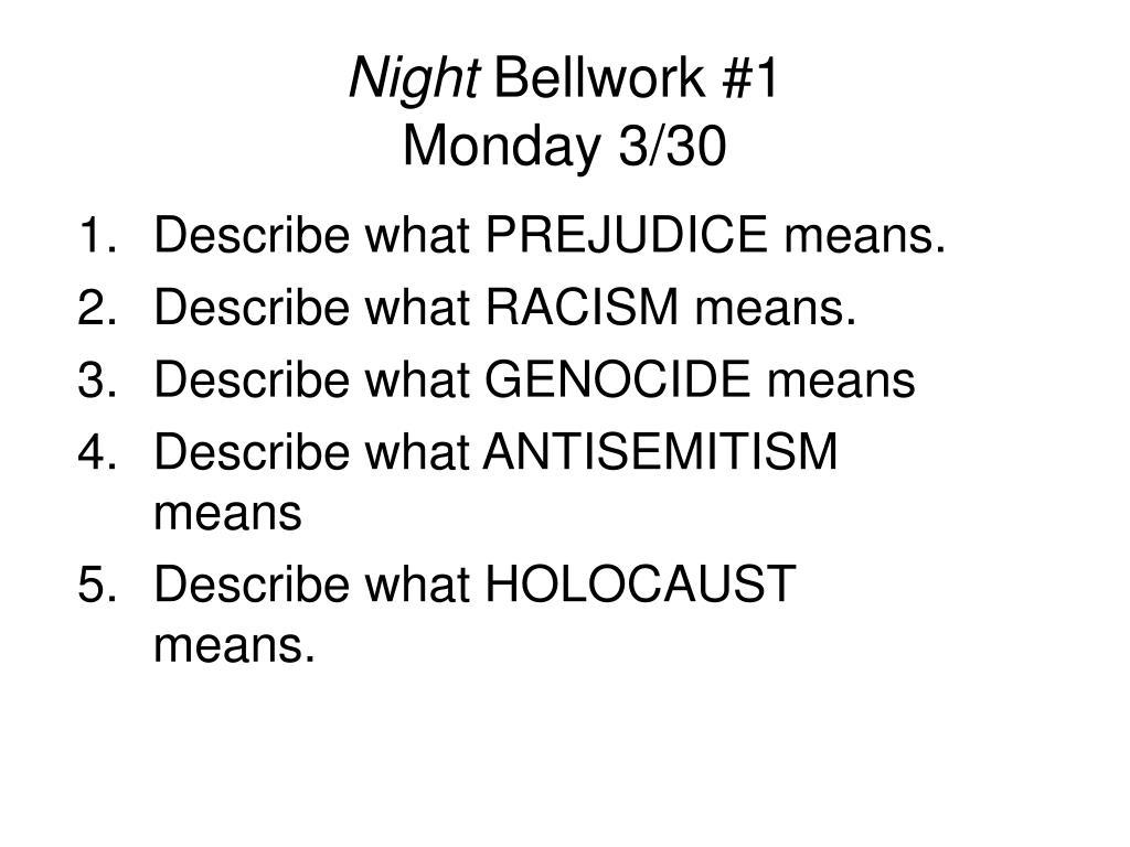 night bellwork 1 monday 3 30 l.