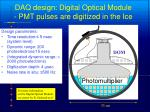 daq design digital optical module pmt pulses are digitized in the ice