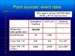 point sources event rates
