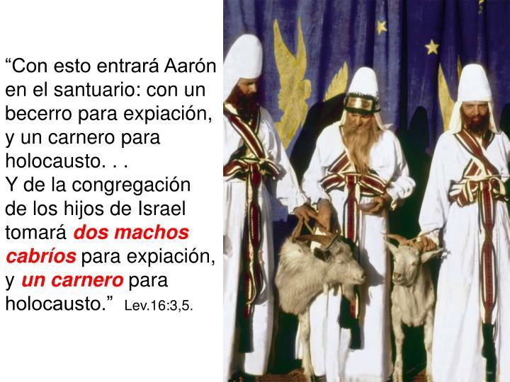 """""""Con esto entrará Aarón en el santuario: con un becerro para expiación, y un carnero para holocausto. . ."""