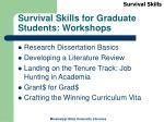 survival skills for graduate students workshops