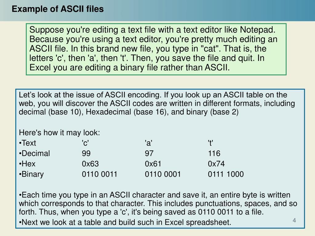 PPT - Computers and Representations Ascii vs  Binary Files
