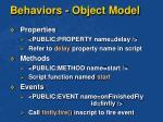 behaviors object model