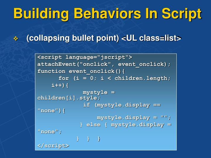 Building Behaviors In Script