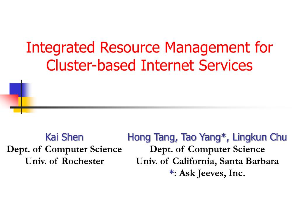 integrated resource management for cluster based internet services l.