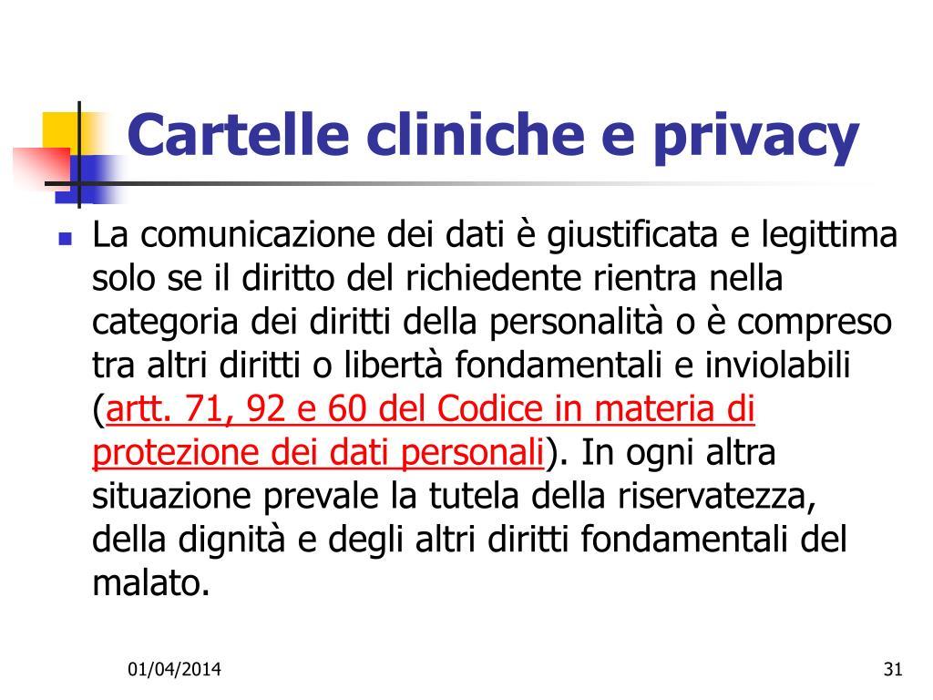 Cartelle cliniche e privacy