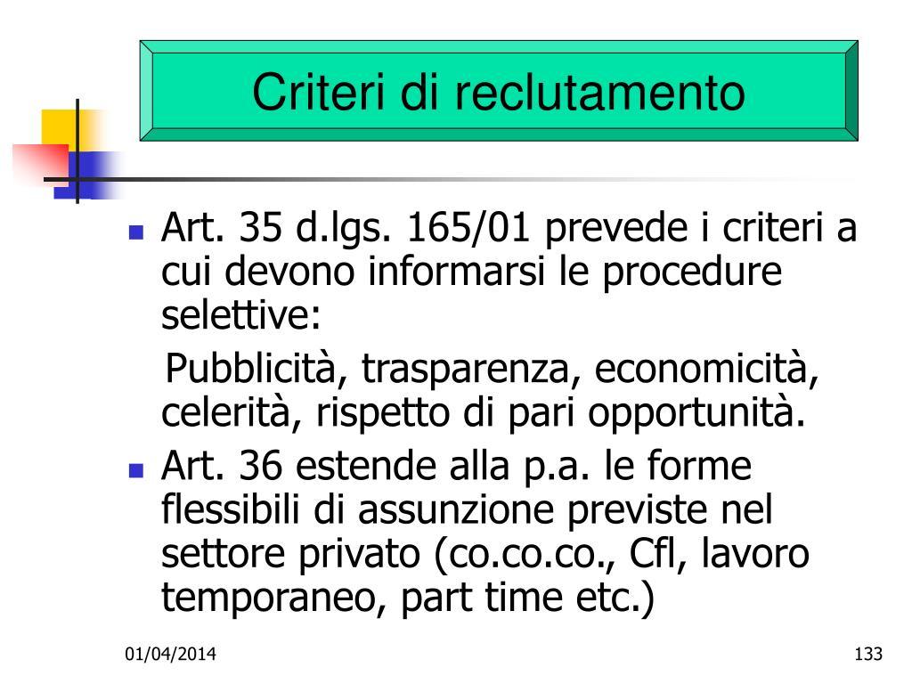 Criteri di reclutamento