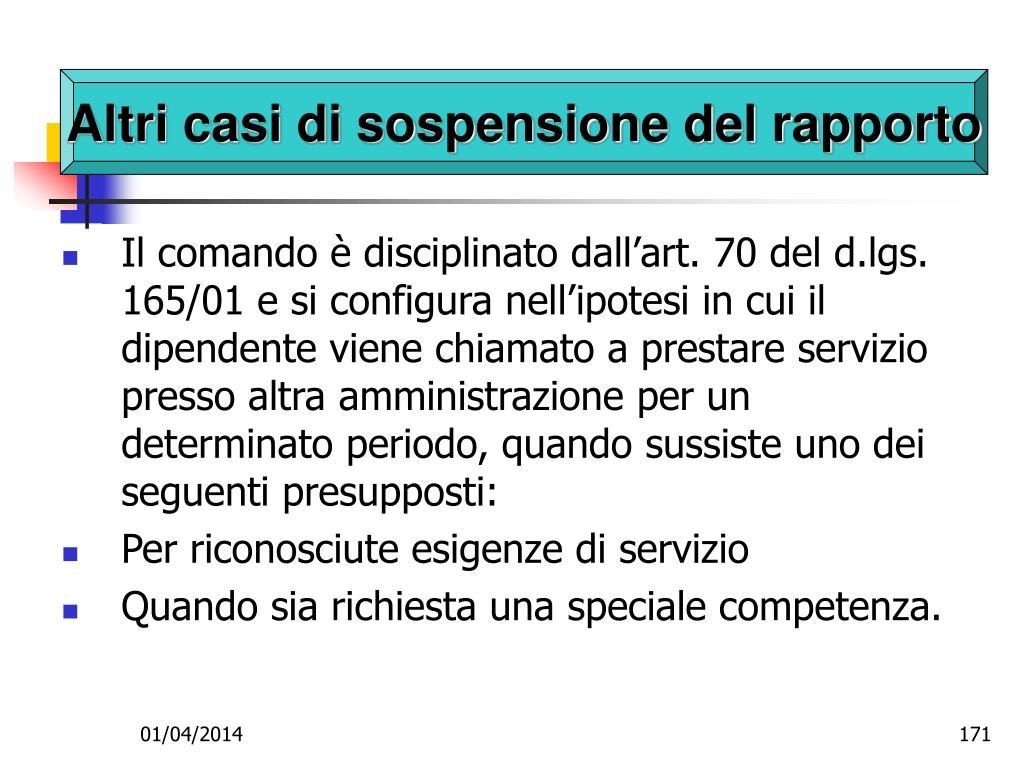 Altri casi di sospensione del rapporto