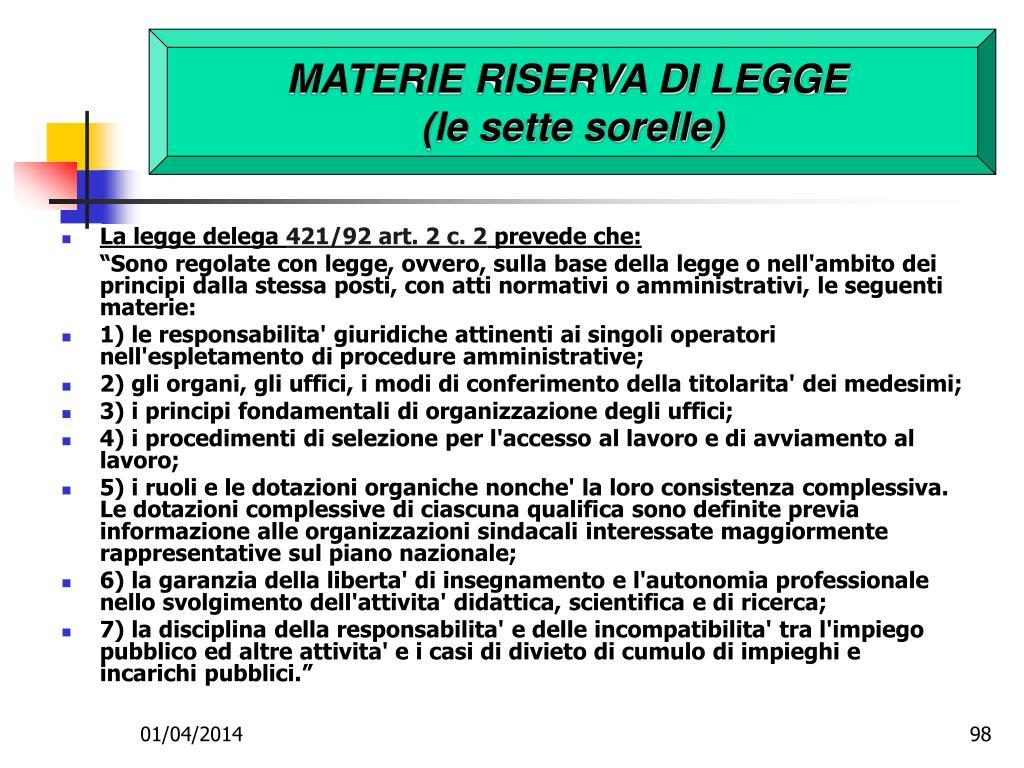 MATERIE RISERVA DI LEGGE