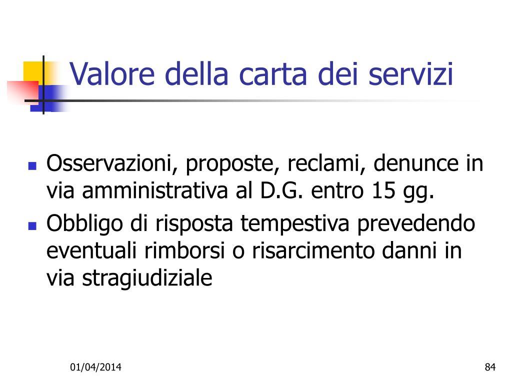 Valore della carta dei servizi