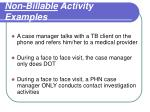 non billable activity examples