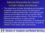 national partnership for careers in public safety and security