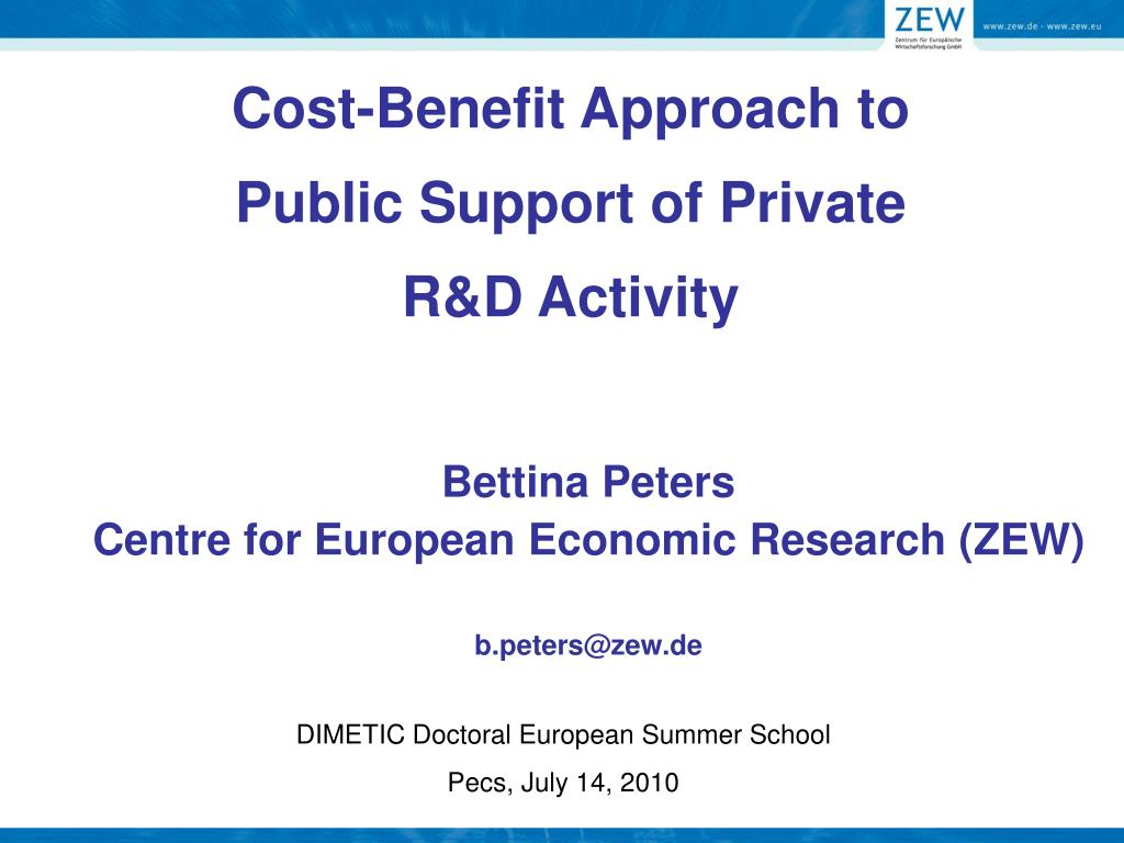 cost benefit approach to public support of private r d activity l.