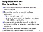 requirements for multicasting 1