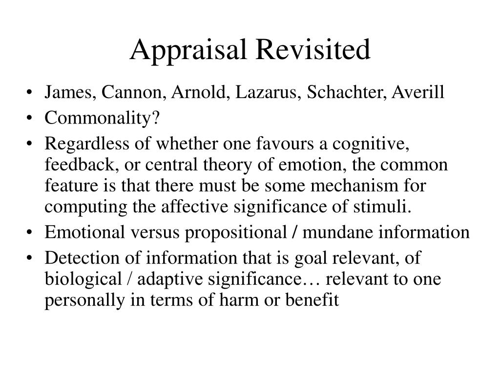 Appraisal Revisited