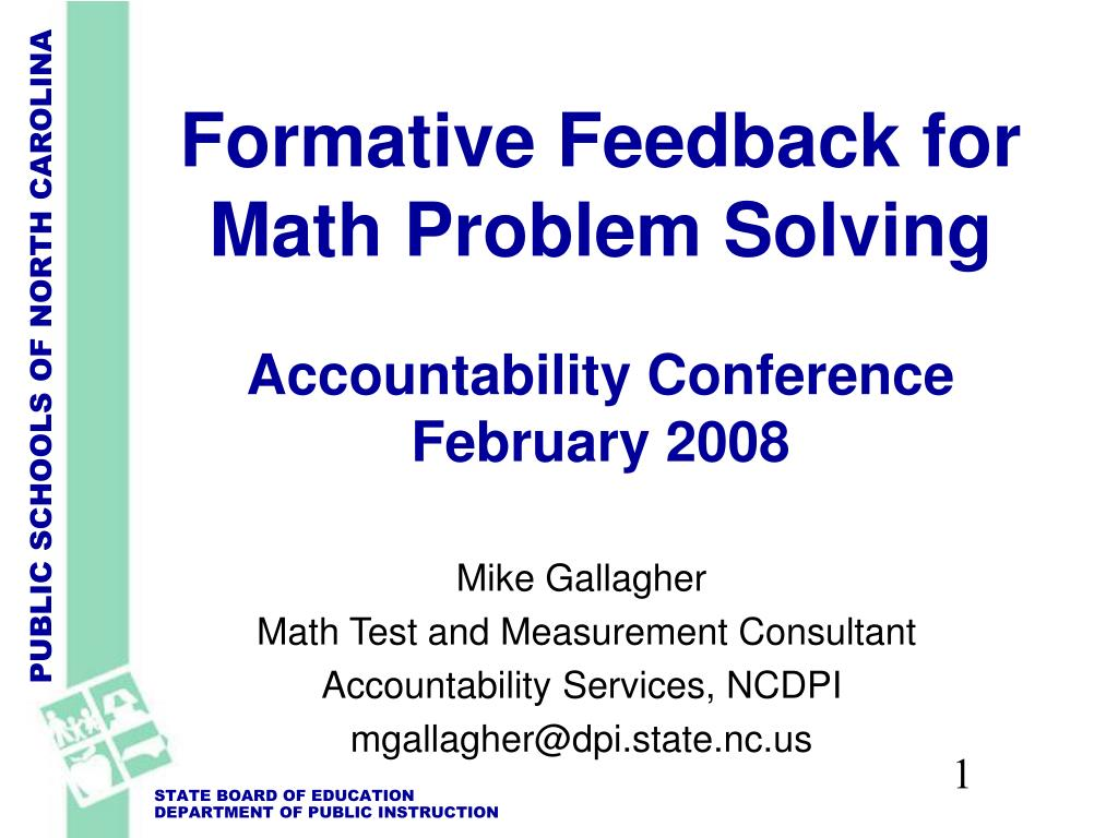 formative feedback for math problem solving accountability conference february 2008 l.