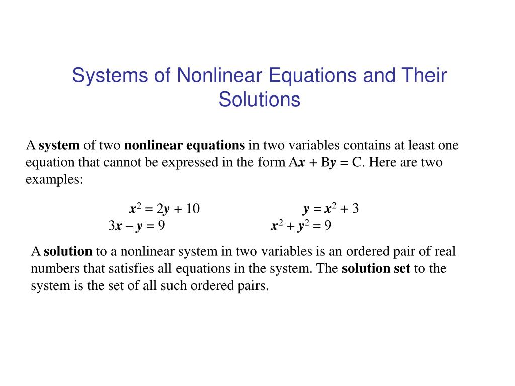 ppt - systems of nonlinear equations and their solutions powerpoint