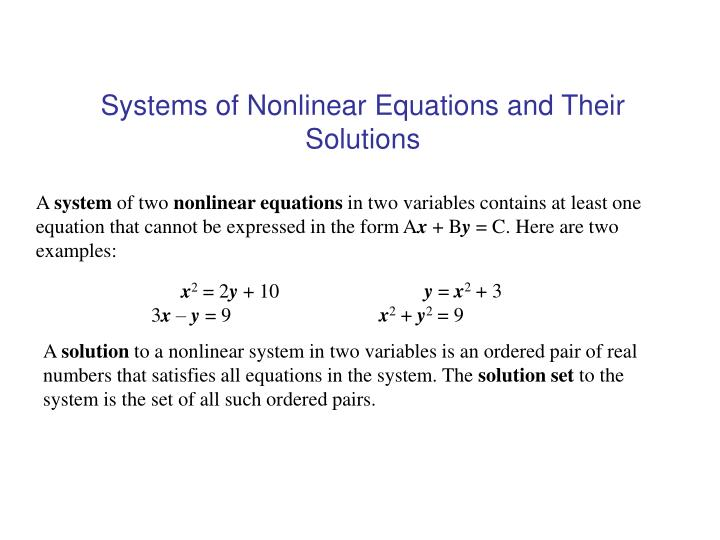 systems of nonlinear equations and their solutions n.