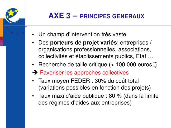 Axe 3 principes generaux