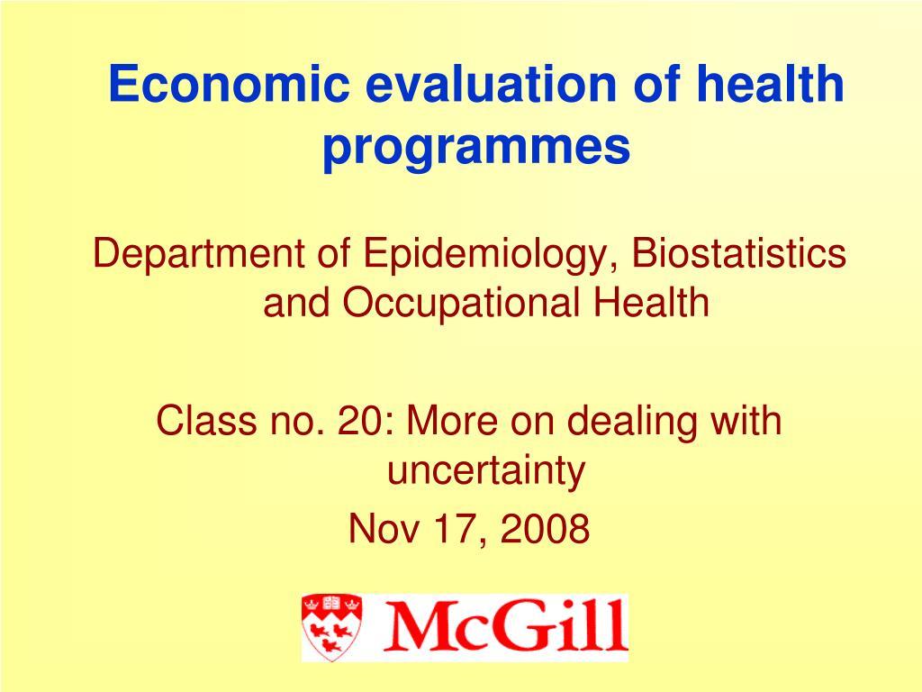 economic evaluation of health programmes l.