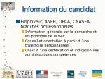 information du candidat