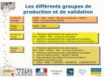les diff rents groupes de production et de validation