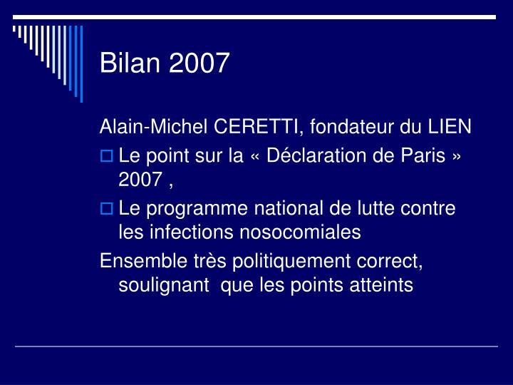 Bilan 2007