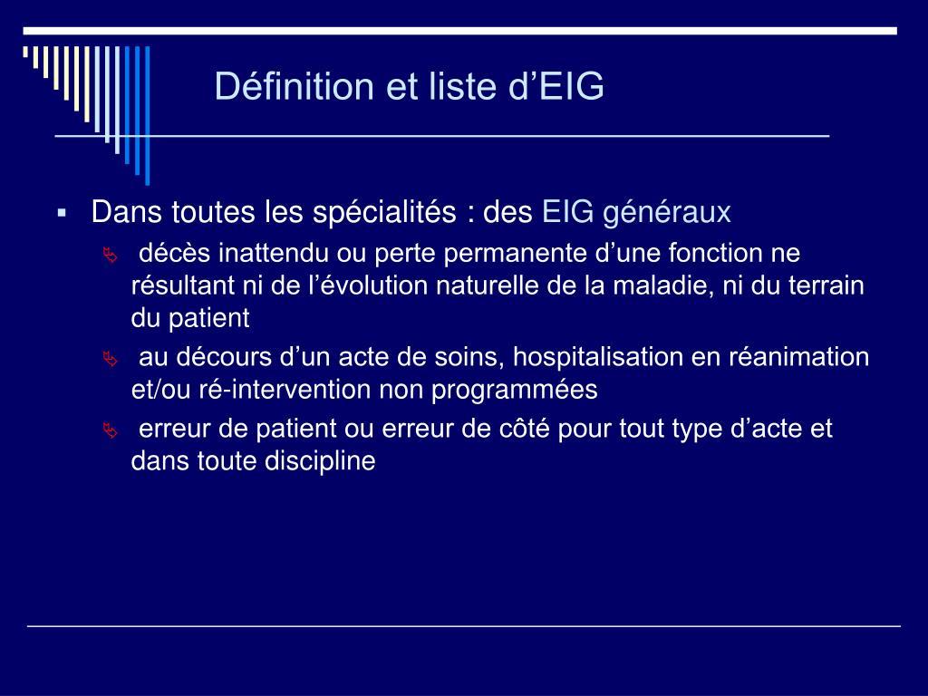 Définition et liste d'EIG