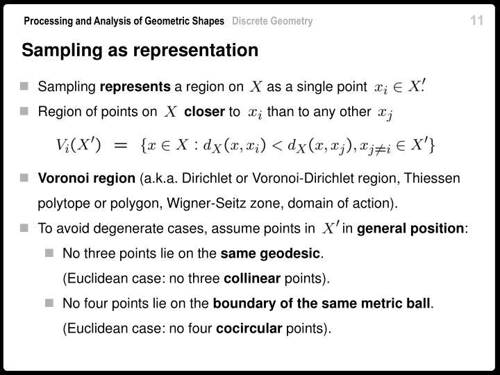 Sampling as representation