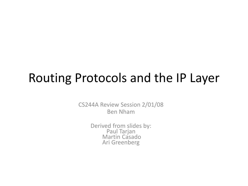 routing protocols and the ip layer l.