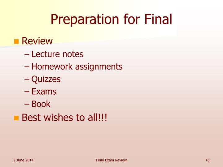 Preparation for Final