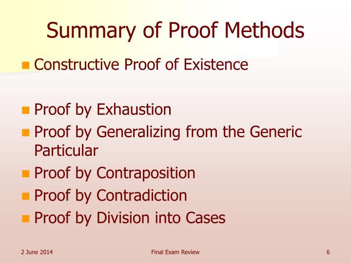 Summary of Proof Methods