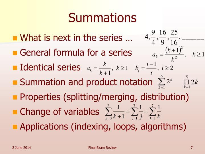 Summations