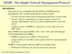 snmp the simple network management protocol