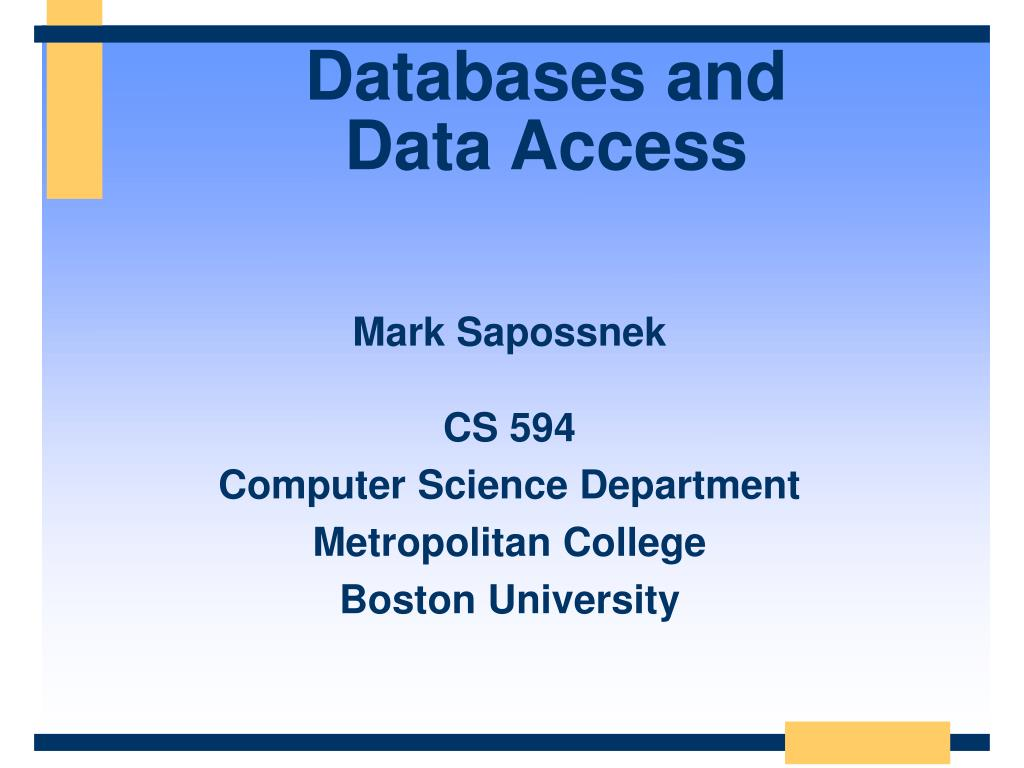 databases and data access l.