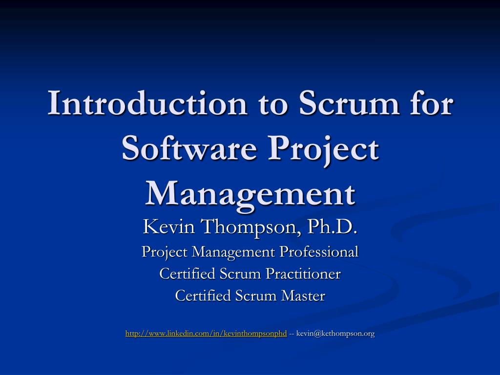 introduction to scrum for software project management l.