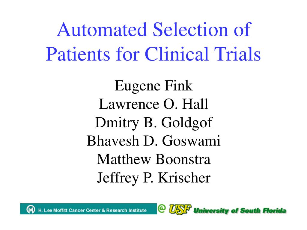 automated selection of patients for clinical trials l.