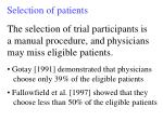 selection of patients