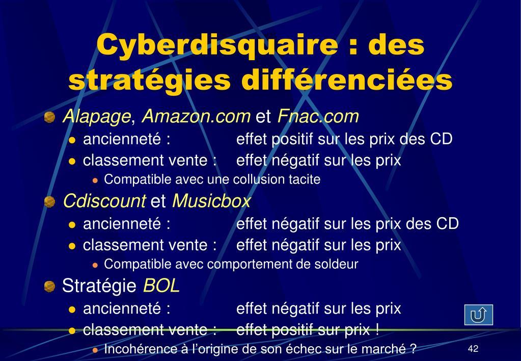 Cyberdisquaire : des stratégies différenciées