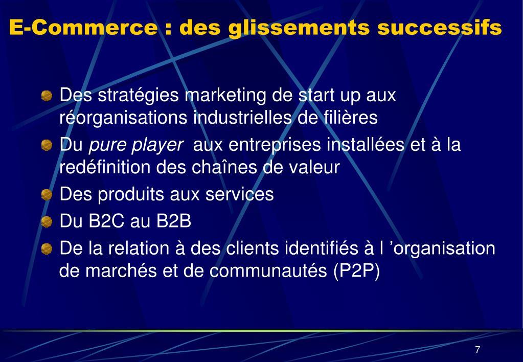 E-Commerce : des glissements successifs