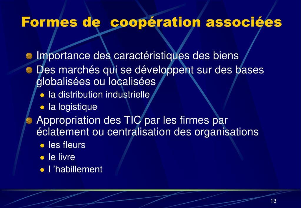 Formes de  coopération associées