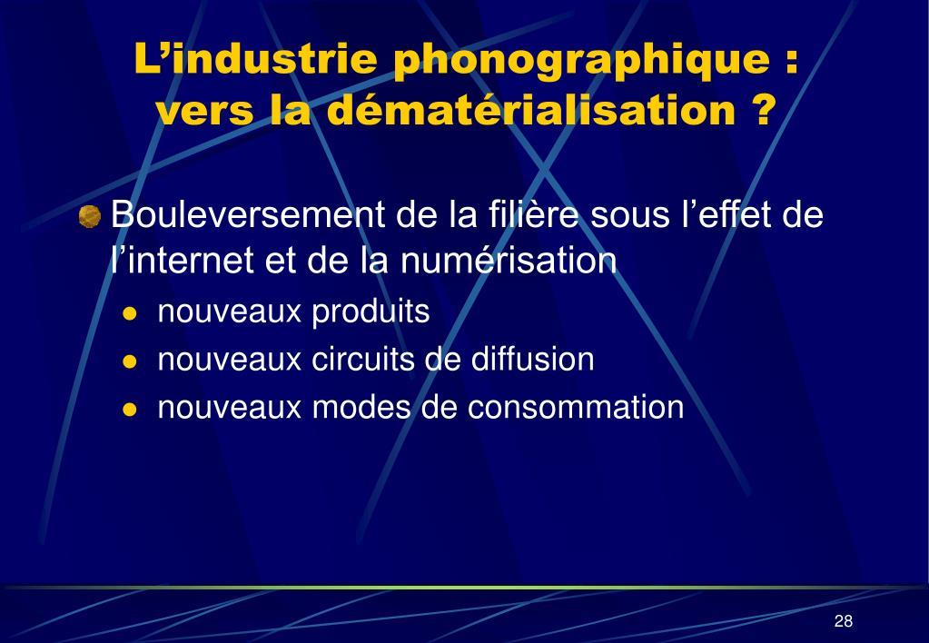 L'industrie phonographique : vers la dématérialisation ?
