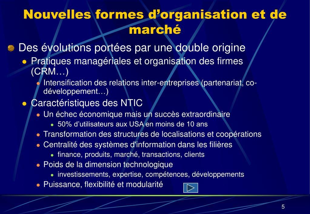Nouvelles formes d'organisation et de marché